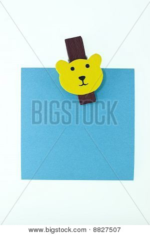 Blank Blue Notes With Bear Wooden Clipper With Isolated Isolated White