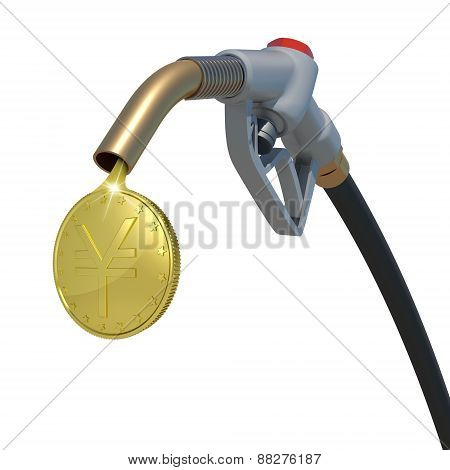 Gold yen coin flowing from fuel nozzle