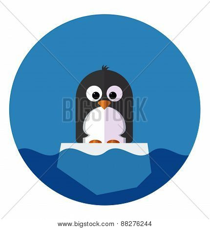 Illustration of Penguin on a ice floe
