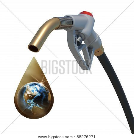 Earth inside of a golden drop weeping from the fuel nozzle