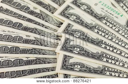 Cash American Dollars Banknote Closeup, Money Background