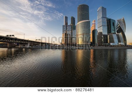 Business center Moscow-city at sunset.