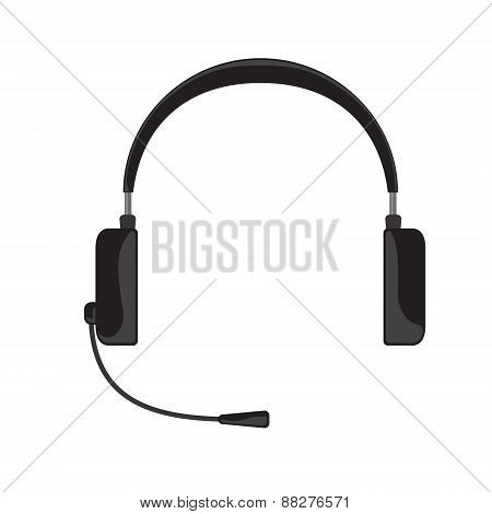 illustration of black headphones with microphone on white background