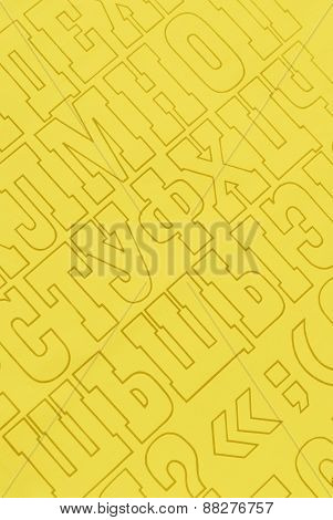 yellow cyrillic alphabet letters paper background
