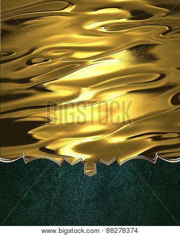 Element For Design. Template For Design. Yellow Abstract Metal With Green Bottom