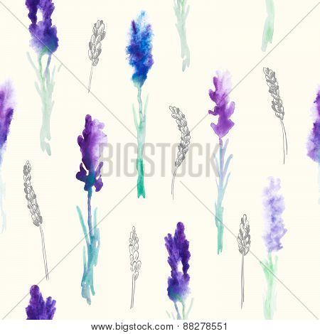 Watercolor Seamless pattern with lavender flowers