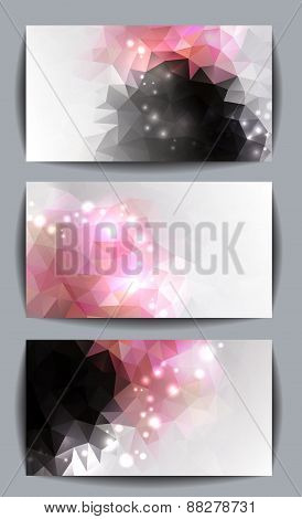 set of banners with orchid and spa stones made with triangles