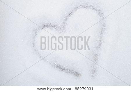 Heart Drawn In Sugar Background