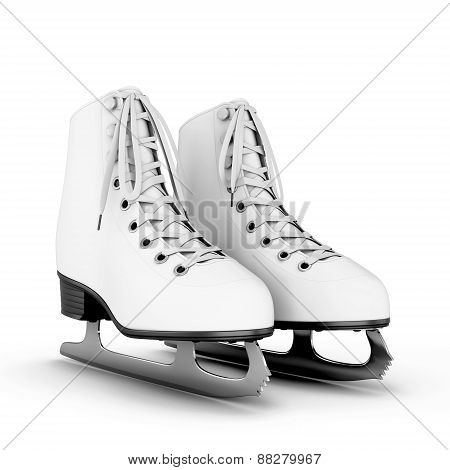 Figure Skates On A White