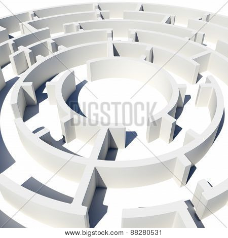 Top view of 3d model round labyrinth