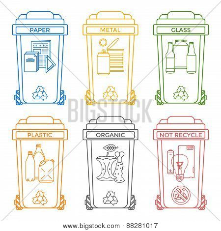 Various Colors Outline Separated Garbage Bins Icons Labels .