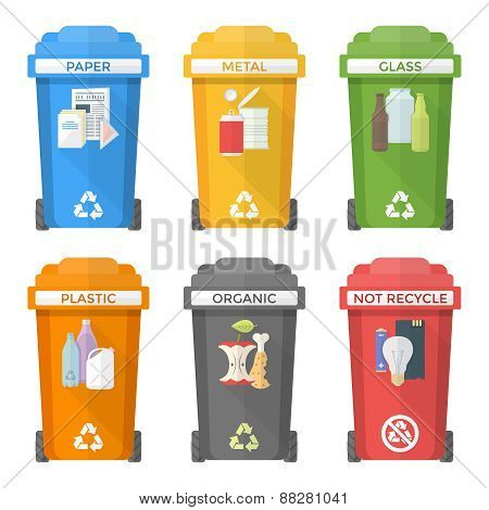 Flat Style Colorful Separated Garbage Bins Icons Labels .