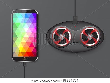 Touch Screen Mobile Phone And Speaker - Vector Illustration