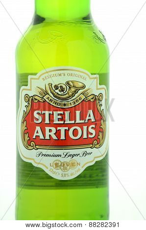 Stella Artois pilsner beer isolated on white background