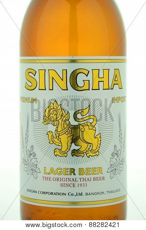 Singha beer isolated on white background