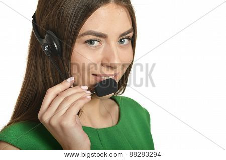Young nice woman with phone