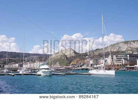 Marine Harbor With Boats In Town Balchik, Bulgaria