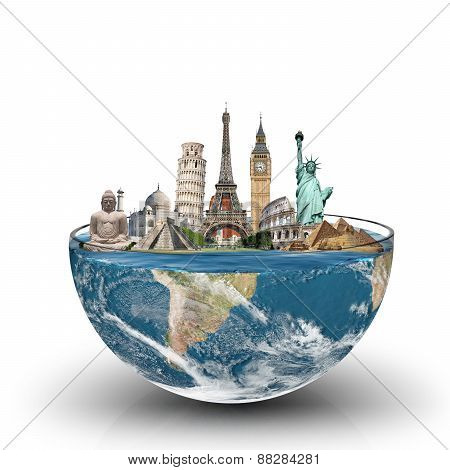 Monuments Of The World In A Glass Of Water