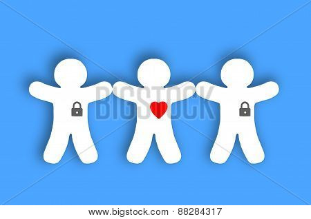 Paper White People With Locked Hearts Over Blue Background