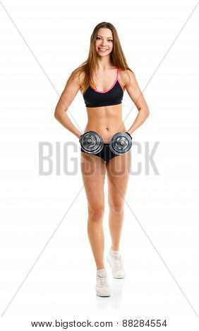 Happy Athletic Woman With Dumbbells Doing Sport Exercise, Isolated On White