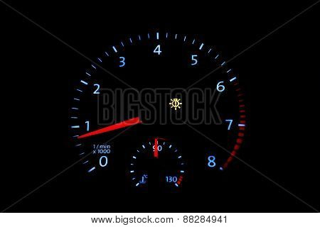 Car Tachometer With Bright Dial
