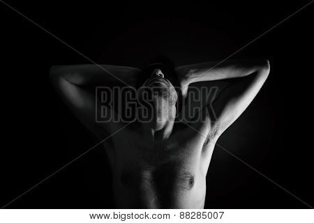 Naked Man With Bandage On Eyes