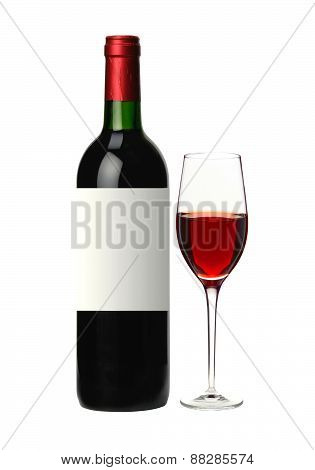 Bottle And Glass Of Red Wine Isolated On White