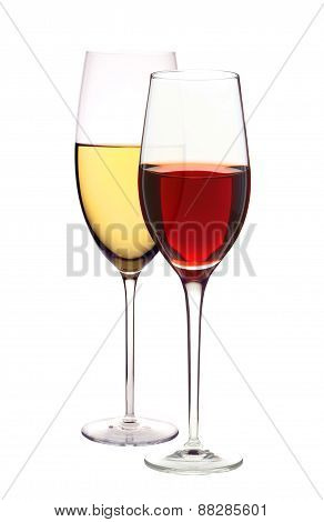 Wineglasses With White And Red Wine Isolated On White