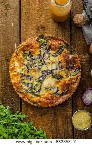 Polenta Quiche With Red Onion And Herbs