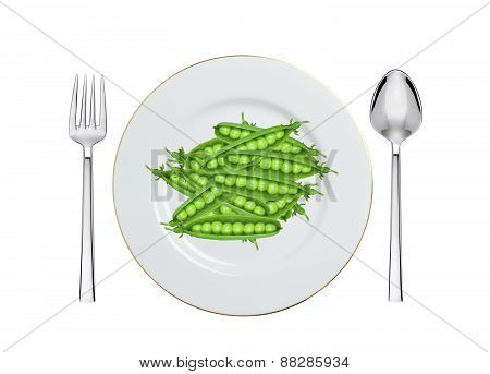 Green Peas On White Plate Isolated On White