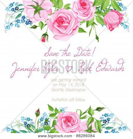 Forget Me Nots And Roses Floral Design Frame Vector Element