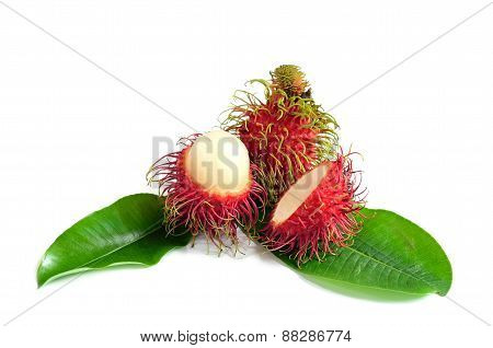 Beautiful Fresh rambutans white background