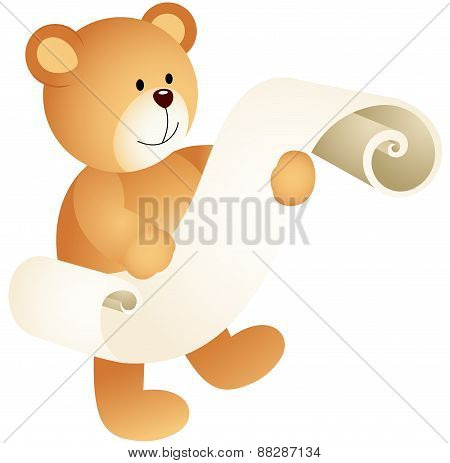 Teddy bear with a parchment