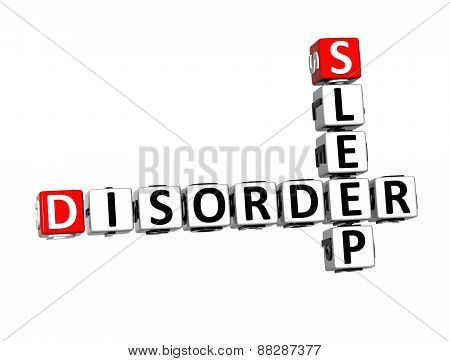 3D Crossword Sleep Disorder Over White Background.