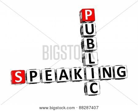 3D Crossword Public Speaking Over White Background.