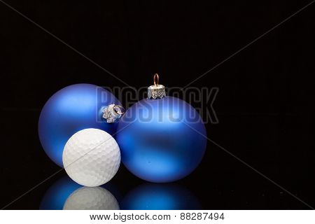 Blue Christmas Decoration A Golf Balls