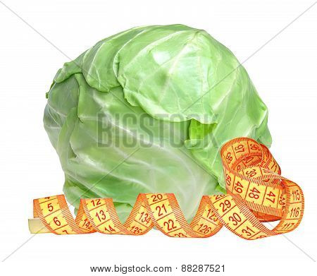 Tasty Cabbage And Measure Tape Isolated On White