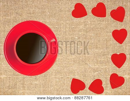 Border Frame Of Red Hearts And Coffee Cup On Sack Canvas Burlap Background