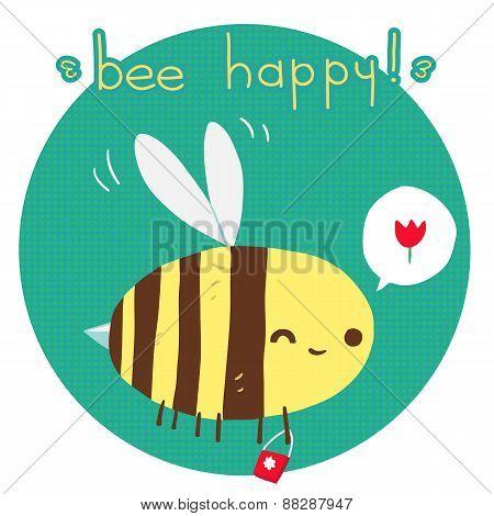 Vector cartoon flat Bee happy postcard.