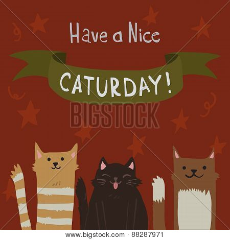 Vector cartoon flat Cats Saturday Postcard.