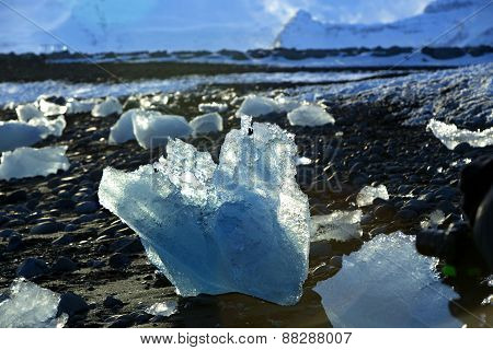 Ice Floes At Glacier Lagoon Jokulsarlon In The Evening Sun