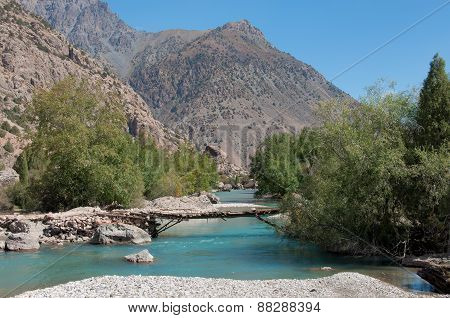 Beautiful stormy turquoise mountain river
