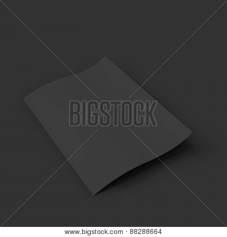 Closed black booklet with a curved leaf. Business mockup template.