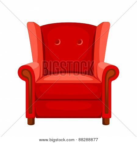 Red armchair. Vector illustration.