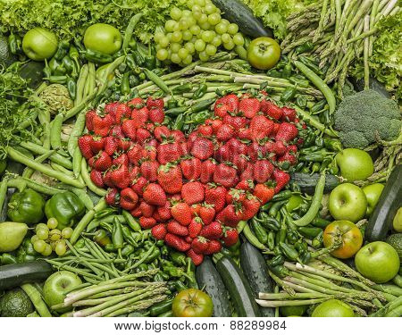 Red heart made of fruits and vegetables