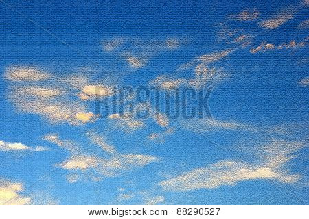 Clouds on blue sky. Abstract background. Computer processing