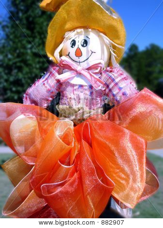 Scarecrow With Orange Bow