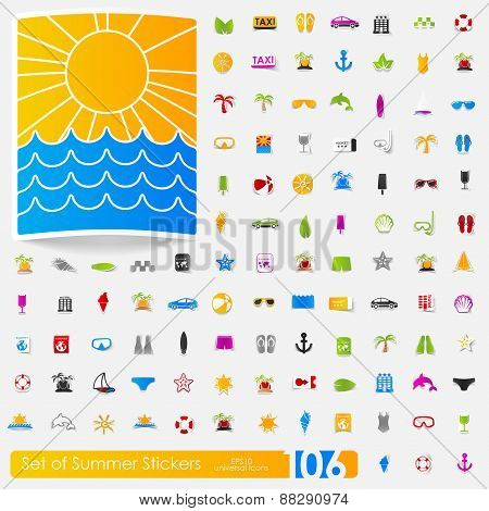 Set of summer stickers