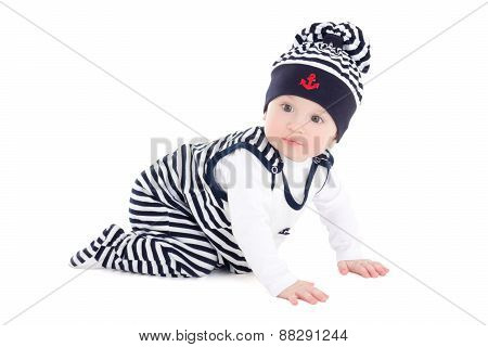 Side View Of Baby Boy Toddler In Sailor Clothes Isolated On White