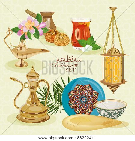Traditional eastern life. Arabic set.